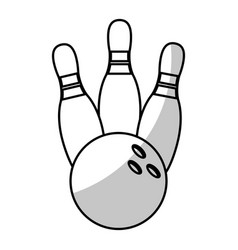bowling ball pin equipment - shadow vector image