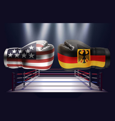 boxing gloves with prints of the usa and german vector image