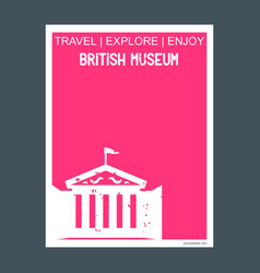 British museum uk monument landmark brochure flat vector