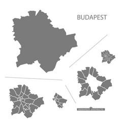 Budapest hungary map grey vector
