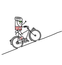 Cartoon racing cyclist climbing a mountain vector