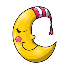 Cartoon sleeping moon in striped nightcap vector