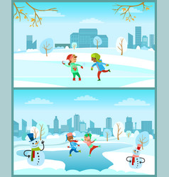 children on christmas winter vacations snowy city vector image