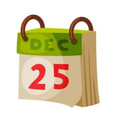 Christmas paper calendar 25 december christmas vector