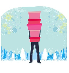 Christmas shopping - winter sale card Man shopping vector