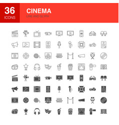Cinema line web glyph icons vector