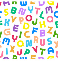 colorful seamless alphabet pattern with bold latin vector image