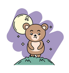 Cute bear animal in the mountain with moon and vector