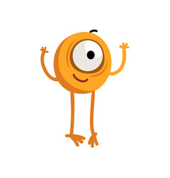 Cute cartoon one eyed yellow monster character vector