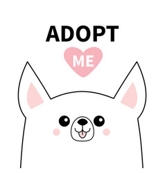 Cute chihuahua dog face line silhouette adopt me vector