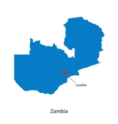 Detailed map of Zambia and capital city Lusaka vector