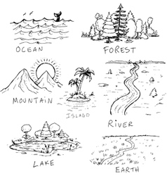 DIfferent hand drawn nature landscapes vector