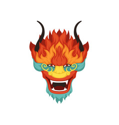 dragon head colorful symbol of chinese vector image