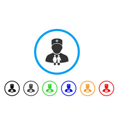 family doctor rounded icon vector image