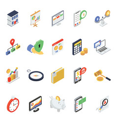 Finance and accounting icons in modern isometric vector