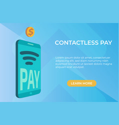 flat concept of contactless payment page vector image