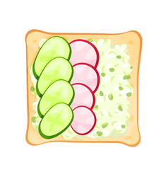 flat icon of toasted bread slice with vector image