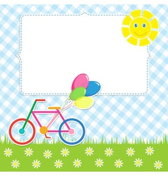 Frame with cute bike vector image