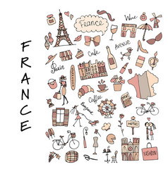 france icons collection sketch for your design vector image