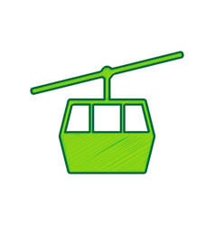 Funicular cable car sign lemon scribble vector