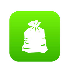 garbage bag icon digital green vector image