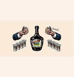 glass bottle liquor hand with a shot toast vector image