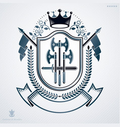 Heraldic coat arms made in retro design vector