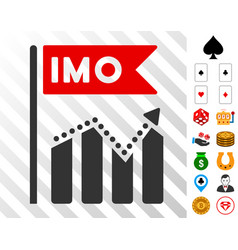 Imo chart trend icon with bonus vector