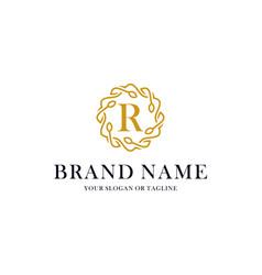 Initial letter r luxury ornament logo design vector