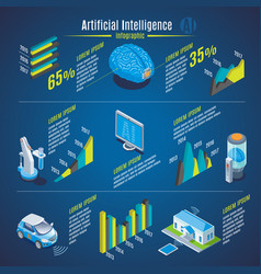 isometric artificial intelligence infographics vector image