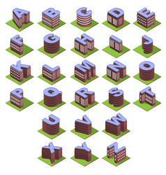 isometric building letters vector image