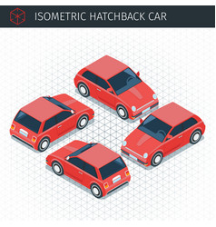 isometric hatchback car vector image
