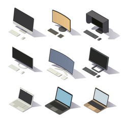 isometric low poly computers vector image vector image