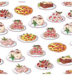 italian cuisine dishes on white background vector image