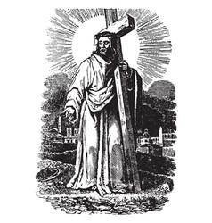 Jesus carrying his cross vintage vector
