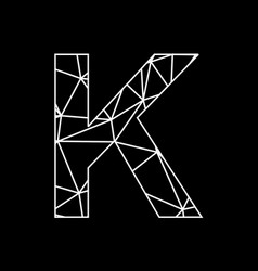 k geometric triangle block chain font vector image