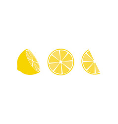 lemon fruit icons symbols set vector image