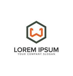 letter w minimalist logo design concept template vector image