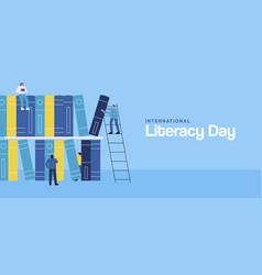 Literacy day web banner people teamwork book vector