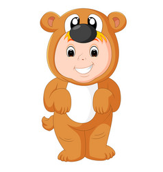 Little funny baby wearing puppy suit vector