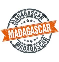 Madagascar red round grunge vintage ribbon stamp vector