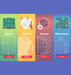 Mathematics banners flat education concept vector