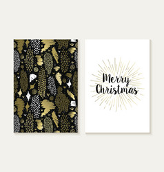 Merry christmas card set retro tribal gold pattern vector image