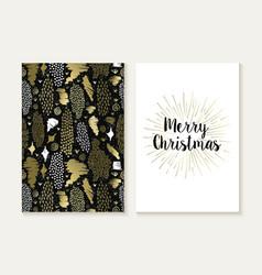 Merry christmas card set retro tribal gold pattern vector