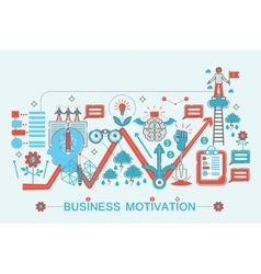 Modern Flat thin Line design Business motivation vector