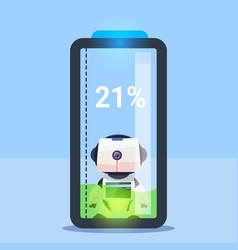 Modern robot charging battery futuristic vector