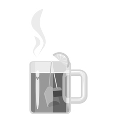 Mug with hot tea icon gray monochrome style vector