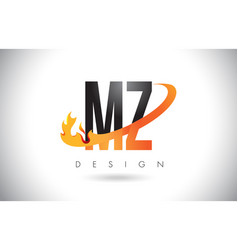 Mz m z letter logo with fire flames design and vector