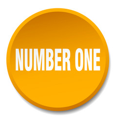 number one orange round flat isolated push button vector image