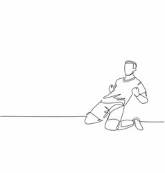 One continuous line drawing young sporty vector